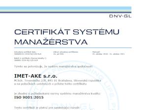 ISO 9001:2015 Certifikát systému manažérstva